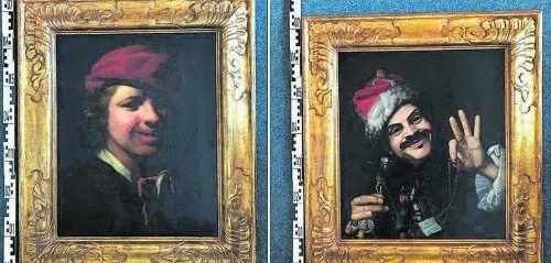 Diese zwei Bilder aus dem 17. Jahrhundert hat Amann in einer Mülltonne entdeckt. Polizeipräsidium NRW Köln