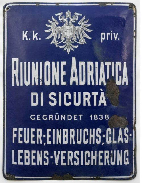 """Emailtafel der Versicherungsgesellschaft """"Riunione Adriatica di Sicurta""""."""