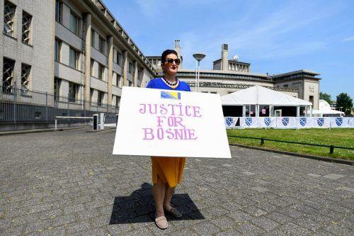 Fatma Aktas von der Avrasya Foundation demonstrierte für Gerechtigkeit. Reuters