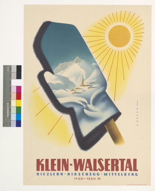 Josef Hofer war einer der Ersten, die in Vorarlberg nach dem Zweiten Weltkrieg Fremdenverkehrsplakate gestalteten. Mit einfachsten Mitteln, in diesem Fall mit dem Handschuh, illustriert er die Thematik Winter-Sonne und verspricht den Konsumenten grenzenloses Skivergnügen.