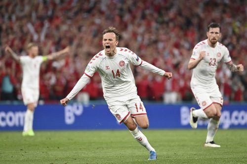 Kasper Damsgaard brachte mit dem Führungstor erstmals das Stadion in Kopenhagen zum Beben.AFP