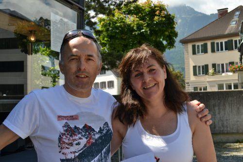 Klaus und Claudia Jäger kamen extra mit den Fahrrädern aus Koblach.