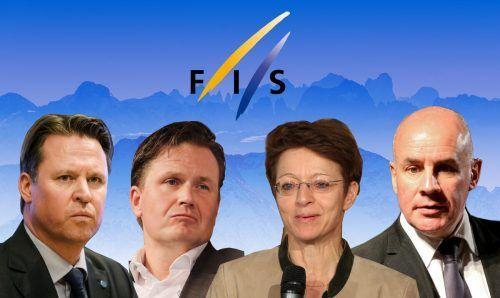 Mats Arjes, Urs Lehmann, Sarah Lewis und Johan Eliasch möchten die Nachfolge von Gian Franco Kasper als Chef des Ski-Weltverbandes antreten.GEPA