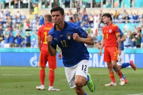 Matteo Pessina erzielte den 1:0-Siegestreffer für die Squadra Auzzra im letzten Gruppenspiel gegen Wales. Italien ist nun schon seit 30 Spielen ungeschlagen.apa