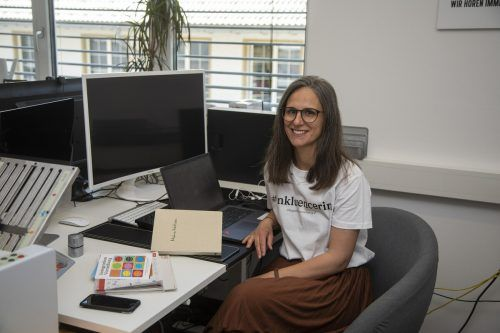 Nicole Klocker-Manser an ihrem neuen Arbeitsplatz bei der Selbsthilfe Vorarlberg. VN/Paulitsch