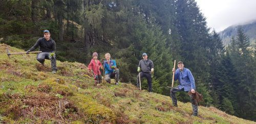 Peter Bahl, Christoph Vallaster, Johannes Netzer mit Magnus und Rene Morscher (v. r.) beim Jäten auf der Vollspora.EST