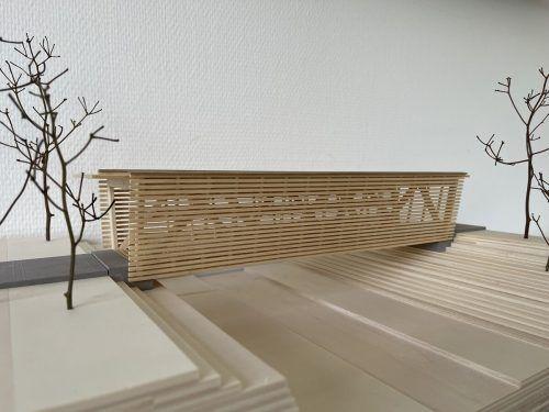 Modell der von der HTL Rankweil konstruierten neuen Fahrrad- und Fußgängerbrücke. Marktgemeinde
