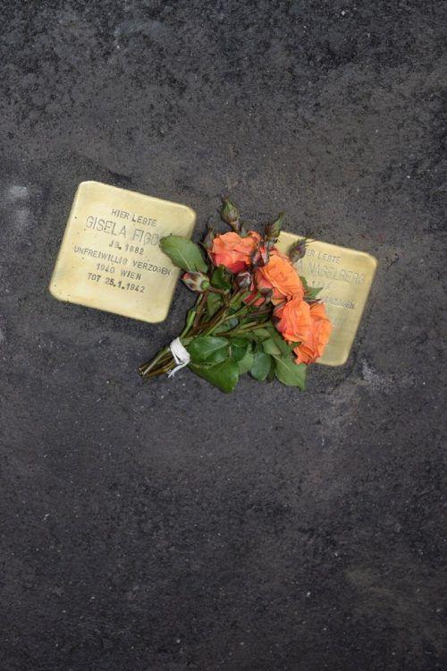 Stolperstein für Gisela Figdor vor ihrer letzten Adresse in Hohenems, 2014. Ihr einzig erhaltenes Foto aus einem Dokument ist von 1938.JM