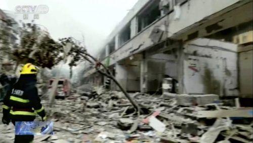 Von der Markthalle blieb ein Trümmerfeld übrig (Bild aus CCTV-Video). AP