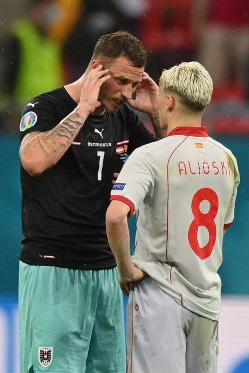 Wortgefecht zwischen Marko Arnautovic (l.) und Ezgjan Alioski.afp