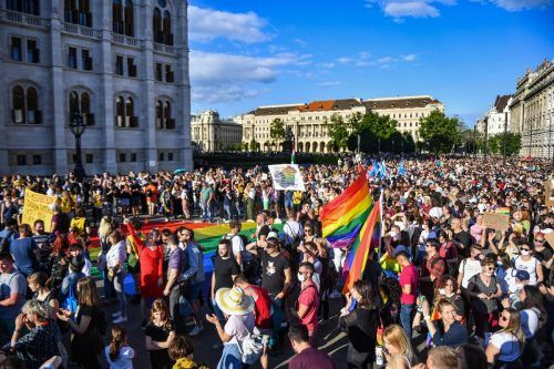 Zahlreiche Menschen protestierten in Budapest gegen das Gesetz. AFP