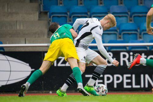 Filip Rettig, der Deutsch-Schwede im Team der Bregenzer, bot auf der linken Abwehrseite eine starke Leistung.Steurer