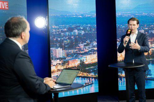 """""""Jeder, der viel arbeitet, macht auch da und dort Fehler"""", erklärte Kanzler Kurz im Gespräch bei Vorarlberg Live. VN/Serra"""