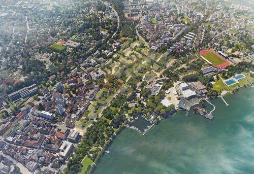Wird der Masterplan Bregenz-Mitte weiter verfolgt, könnte Bregenz in ein paar Jahren so aussehen.
