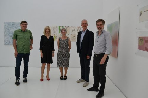 V. links: Obmann Wolfgang Maurer, Cornelia Mathis-Rothmund, Kuratorin Herta Pümpel, Kurator Erhard Witzel und Winfried Nussbaummüller.BI