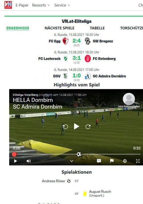 Alle Ergebnisse und mehr: VN.at-Eliteliga.