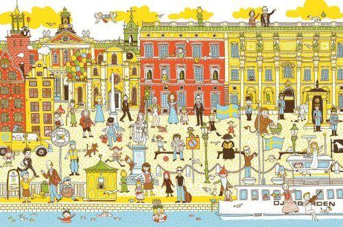 Ausschnitt aus dem Wimmelbild aus Stockholm von Judith Drews. Drews, stadtbibliothek