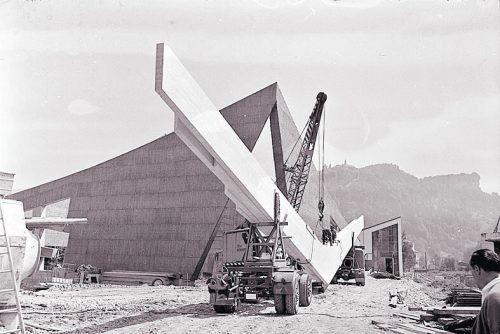 Bregenz, Bau der Kolumbankirche, 1963