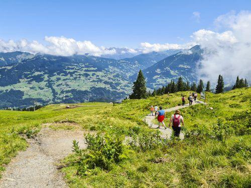 Der 3,5 Kilometer und ein bis zwei Stunden lange Golmi's Forschungspfad beginnt bei der Bergstation Grüneck und endet am Haus Matschwitz. VN/JUN