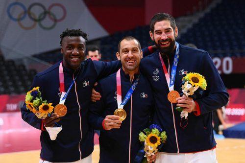 Der Gold-Triple-Club: Luc Abalo, Michael Guigou und Nikola Karabatic (v. l.).APA