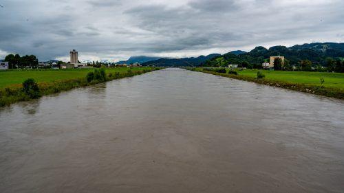 Der Rhein bei Lustenau am Sonntag um die Mittagszeit. Die Vorländer wurden nicht geflutet. VN/Lerch