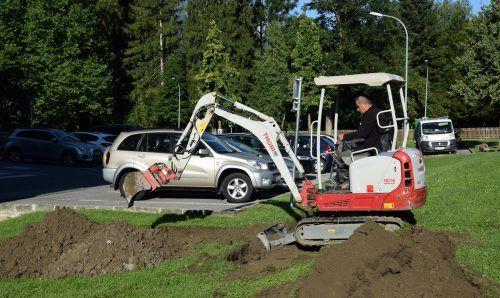 Die Bauarbeiten für die neue E-Ladestation am Bludenzer Rathaus haben gestern begonnen.Stadt Bludenz