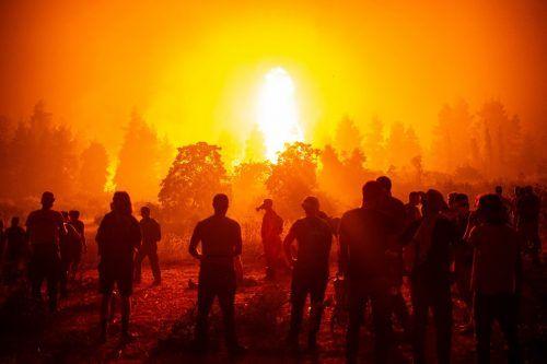 Die Flammen wüteten auf Euböa auch gestern weiter. ap