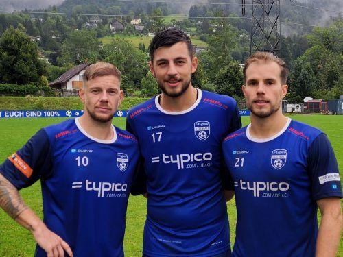 Die Lochauer Torschützen von links: der zweifache Stefan Maccani, Fabio Feldkircher und Niklas Außerlechner.Schallert