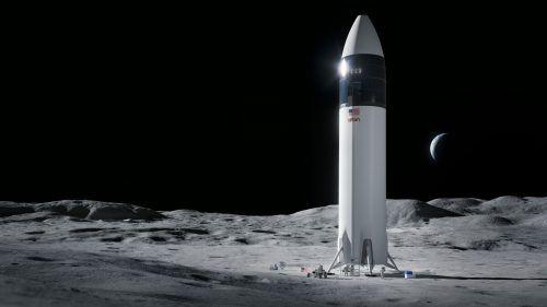Die NASA will erstmals seit 1972 wieder Astronauten im Rahmen des Artemis-Programms auf den Mond bringen. Illustration, SpaceX