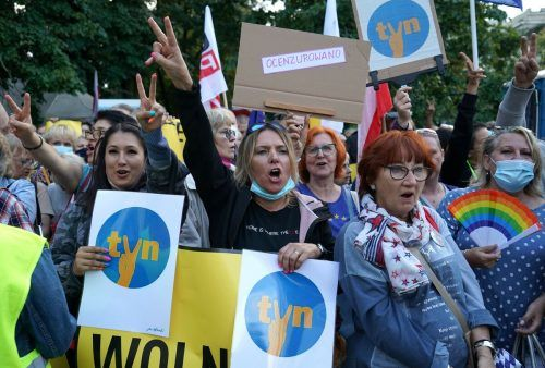In Warschau kam es zu Protesten für den Sender und die Medienfreiheit. AFP