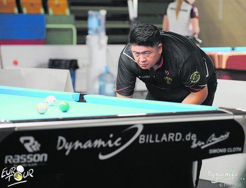 Konzentriert tankte sich Mario He bei der Billard Euro Tour in Slowenien bis ins Viertelfinale durch.DM-Euro