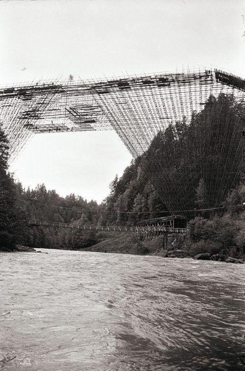 Lingenau, Bau der Hochbrücke, 1966