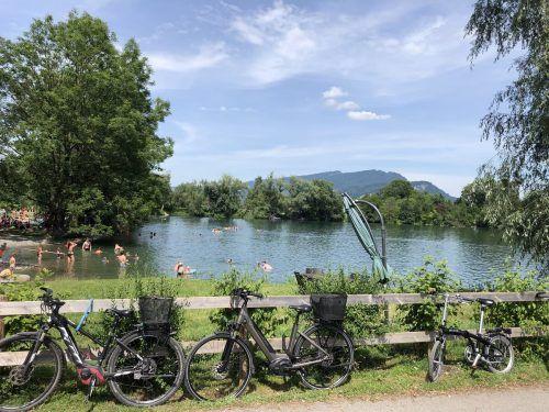 Mit dem Fahrrad durch das ganze Ländle und in die Schweiz. Einer der 15 Zielorte ist der Jannersee. Verein agglomeration Rheintal