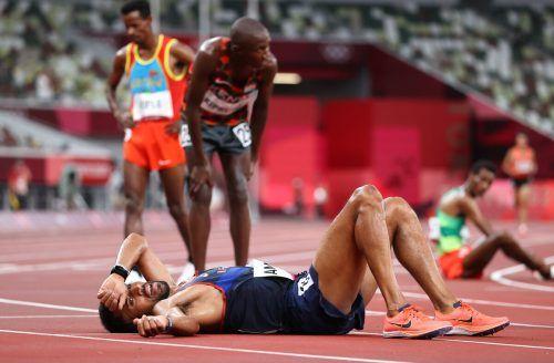 Morhad Amdouni räumte beim Marathon sämtliche Trinkflaschen ab.ap