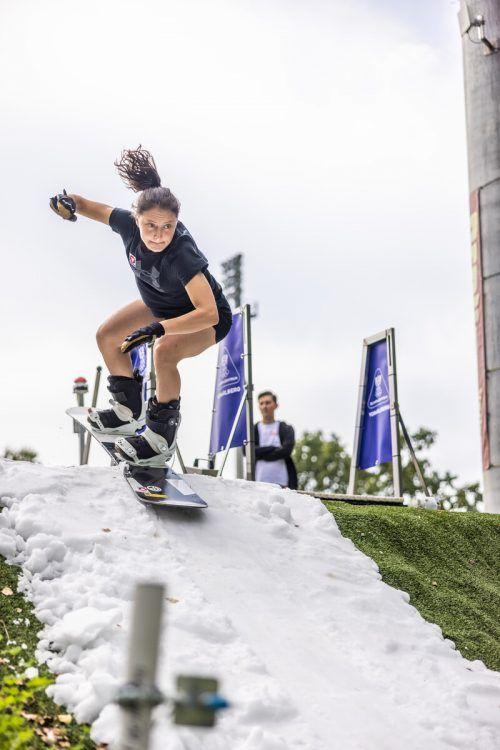 ÖSV-Fahrerin Pia Zerkhold auf der Dornbirner Startbahn.vn-sams
