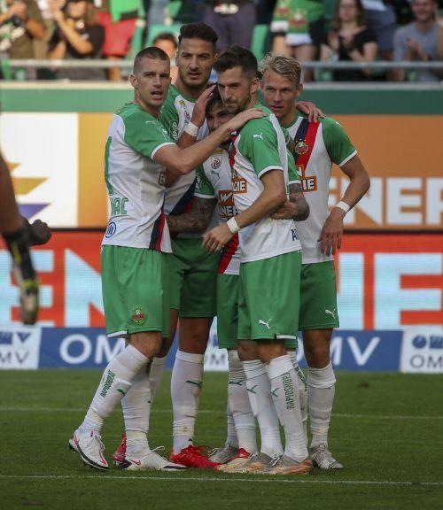 Rapid Wien will in Zypern den Aufstieg ins Play-off der Europa League fixieren.gepa