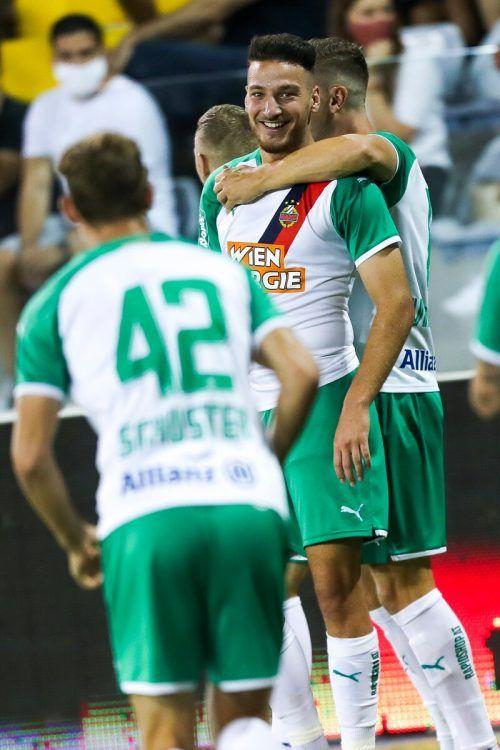 Rapid will nach zuletzt durchwachsenen Leistungen in der Bundesliga gegen Sorja Luhansk wieder Grund zum Jubeln haben. gepa
