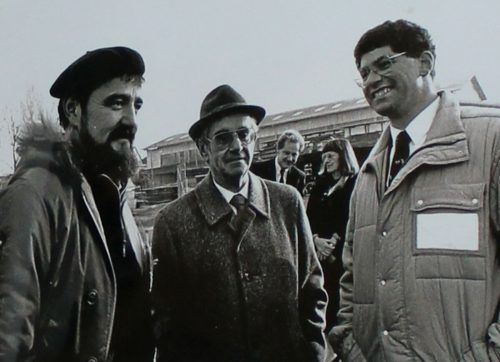 Sicherheitsingenieur Martin Uhlich in den späten 1980er-Jahren mit Reinhard Kloser und Vereinspräsident Klaus Henninger. . .