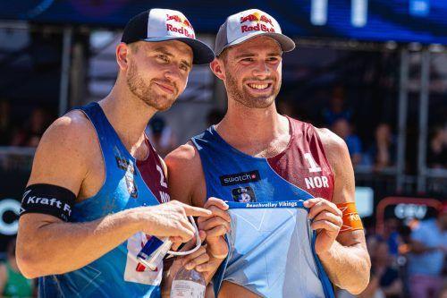 Triumph in Wien: Die Beach-Volleyball-Wikinger Christian Sörum und Anders Mol. apa