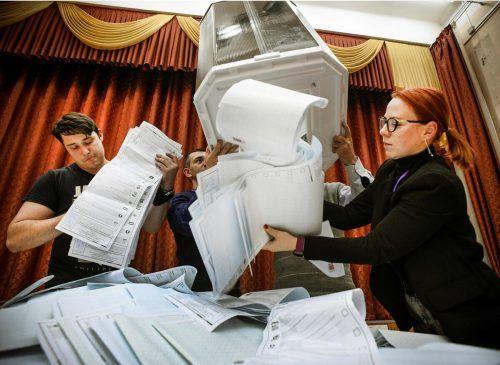 110 Millionen Menschen inRusslandund im Ausland waren zu der dreitägigen Wahl aufgerufen. Die Beteiligung lag bei 51,6 Prozent.AFP