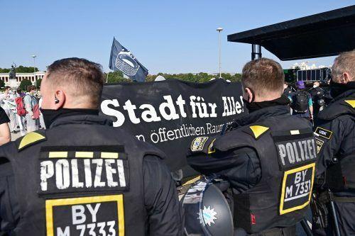 Auf der Theresienwiese war die Polizei mit einem Großaufgebot vor Ort. AFP