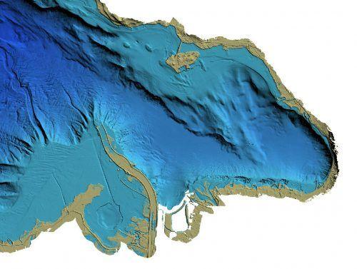 Dass die heutige Insel Lindau aus ursprünglich drei separaten Inseln einer Moräne des Rheingletschers entstand, offenbart sich auch nicht durch den Blick auf den Seegrund. Landesvermessungamt, VN/STeurer