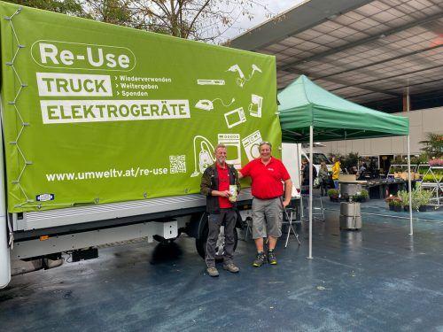 Der Re-Use-Truck am Lustenauer Marktplatz.Gemeinde