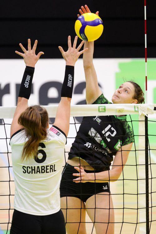 """Die 25-jährige Dornbirnerin Ursula Ehrhart trägt seit 2014 das Trikot des UVC Graz und ist die dienstälteste Spielerin im Kader der """"Uhrturmchicks"""".GEPA"""