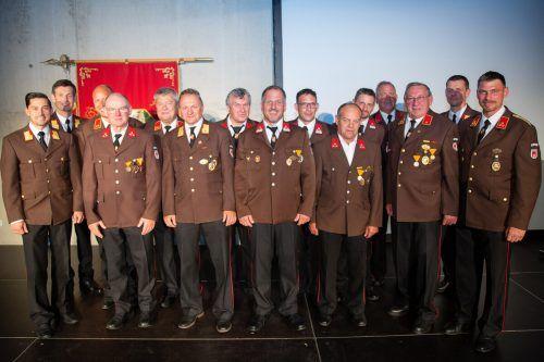 Die für ihr langjähriges Engagement für die Feuerwehr Götzis Geehrten. Feuerwehr Götzis