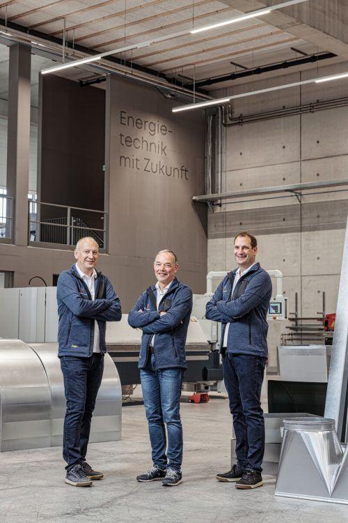 Die Hörburger-Geschäftsführer Bertram Hörburger, Klaus Hämmerle und Simon Hörburger rüsten das Unternehmen für die Zukunft der Energietechnik. D.Todorovic