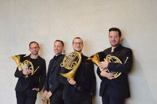 """Die vier Hornisten des """"Rheingold Quartetts"""" beenden die Konzertreihe Montafoner Resonanzen 2021. RQ/FB"""