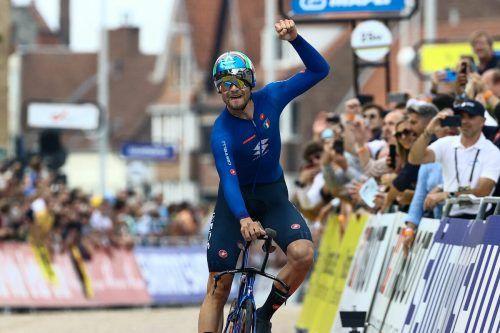 Filippo Ganna verteidigte seinen WM-Titel im Zeitfahren erfolgreich.AFP