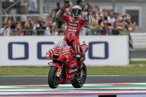 Lokalmatador Francesco Bagnaia feierte beim Grand Prix von San Marino in Misano einen umjubelten Start-Ziel-Sieg. AFP