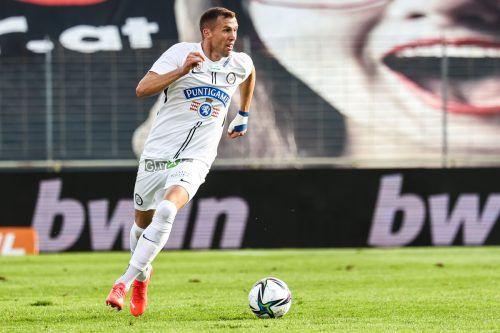 Lukas Jäger und Sturm Graz bekommen es heute mit PSV Eindhoven zu tun.gepa